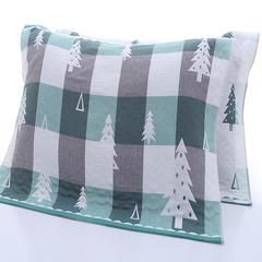 2018新款提花三层枕巾 52*76cm 绿色圣诞树/对