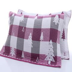 2018新款提花三层枕巾 52*76cm 枣红圣诞树/对
