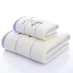 2018新款薰衣草毛巾浴巾套巾 白色毛巾34*74cm