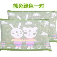 2018新款纯棉熊兔枕巾 52*78cm 绿色/对