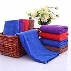 2019新品-超细纤维 干发巾 素色毛巾 擦车巾(35*75) 蓝色