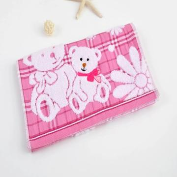 2018新款纱布小熊毛巾  25*50 粉色