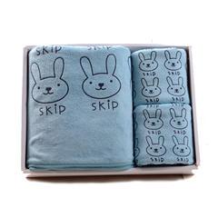 208新款小兔头套巾(毛巾35*75 浴巾70*140) 青色