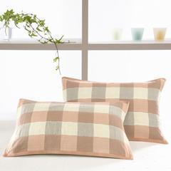 2018新品格子枕巾52x75cm/一对 玉