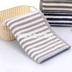 2018新款竖条赛络纺套系毛巾浴巾 灰色毛巾34*75cm