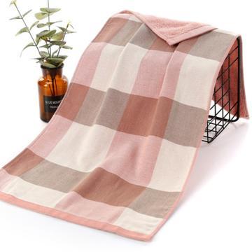 2018新款-双层六格套巾 浴巾70*140cm粉