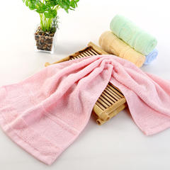 晶淼毛巾 2018新款竹纤维提花竹林浴巾毛巾套巾 粉色毛巾(35*75cm)