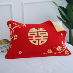 2018新款-高档婚庆枕巾(50*80) 红色  梅花