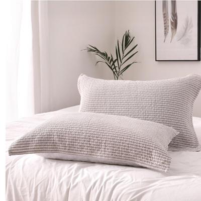 2018新款两层加棉纱布系列色织提花枕巾52*75--老横条枕巾 老横条枕巾米白