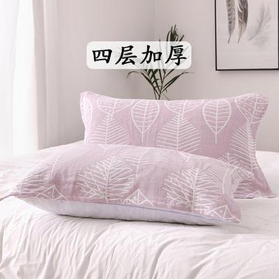 2018新款两层加棉纱布系列色织提花枕巾52*75--树叶枕巾 树叶枕巾红