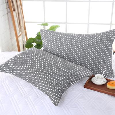 2018新款两层加棉纱布系列色织提花枕巾52*75--圆点枕巾 圆点枕巾黑