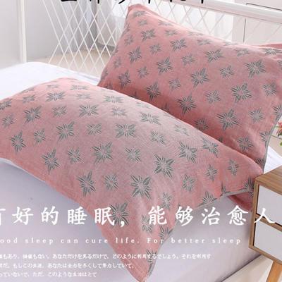 2018新款4层纱布系列色织提花枕巾52*75--钻石枕巾 红