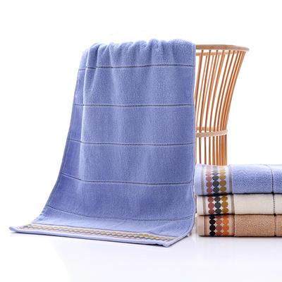 2018新款素色段档圆点面巾-34*74cm 蓝