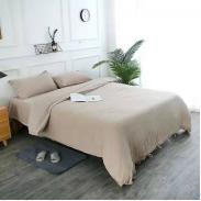 双奥家纺 纯棉双层纱四件套素色简约床上用品柔软透气被套枕套床单 1.5m(5英尺)床 棕色