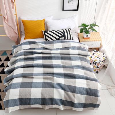 毛巾被纯棉单人双人水洗全棉毛巾毯夏季空调毯夏凉被纱布毯可水洗 200cmx230cm 蓝色