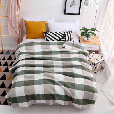 毛巾被纯棉单人双人水洗全棉毛巾毯夏季空调毯夏凉被纱布毯可水洗 150cmx200cm 绿色