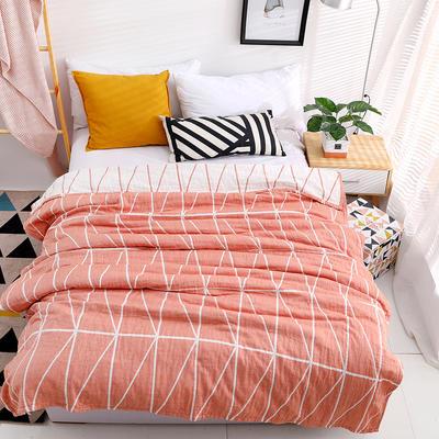 毛巾被新款纯棉夏季双人透气盖毯空调被儿童纱布夏凉被包邮午睡毯 150cmX200cm 粉色