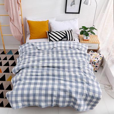 日式水洗純棉紗布蓋毯毛巾被夏季薄被子午休蓋毯全棉空調被夏涼被 200cmx230cm 藍色