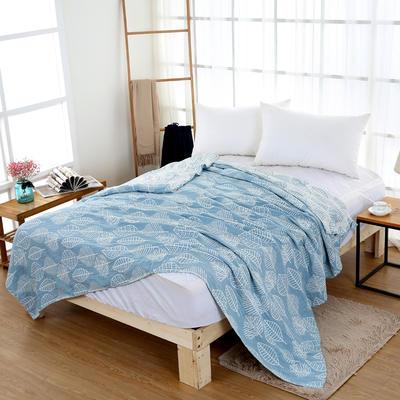 毛巾被雙面四層紗布單人雙人薄空調毯純棉午睡毯休閑毯小毛毯蓋毯 200cmx230cm 藍色