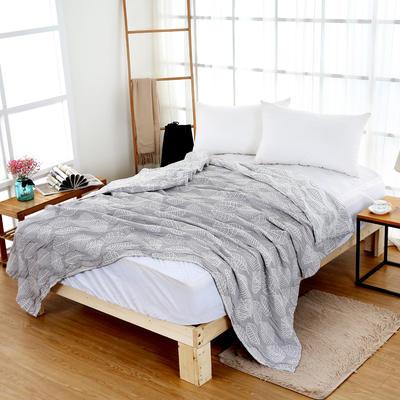 毛巾被双面四层纱布单人双人薄空调毯纯棉午睡毯休闲毯小毛毯盖毯 150cmX200cm 灰色