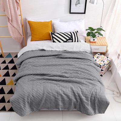毛巾被新款纯棉夏季双人透气盖毯空调被儿童纱布夏凉被情侣午睡毯 200cmx230cm 灰色