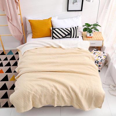 毛巾被新款纯棉夏季双人透气盖毯空调被儿童纱布夏凉被情侣午睡毯 150cmX200cm 黄色