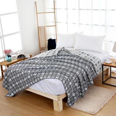 毛巾被新款纯棉夏季双人透气盖毯空调被儿童纱布夏凉被情侣午睡毯 200cmx230cm 蓝色