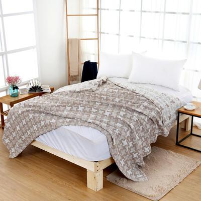 毛巾被新款纯棉夏季双人透气盖毯空调被儿童纱布夏凉被情侣午睡毯 150cmX200cm 棕色