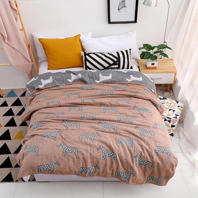 毛巾被双面四层纱布单人双人薄空调毯纯棉午睡毯休闲毯小毛毯盖毯 150cmX200cm 棕色