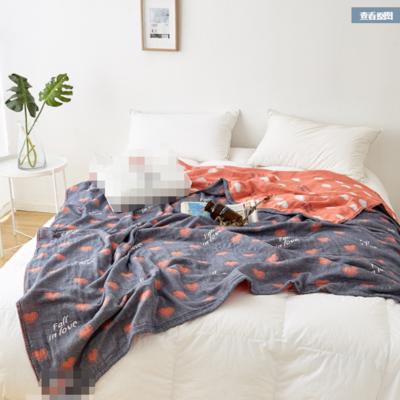 水洗紗布毛巾被純棉全棉毛巾毯夏季單人雙人夏涼毯空調被床單 200cmx230cm 藍色