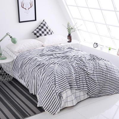水洗纱布毛巾被纯棉全棉毛巾毯夏季单人双人夏凉毯空调被床单 200cmx230cm 灰色—细条