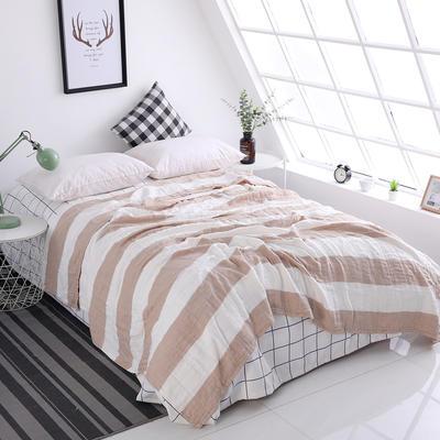 水洗纱布毛巾被纯棉全棉毛巾毯夏季单人双人夏凉毯空调被床单 150cmX200cm 棕色—宽条