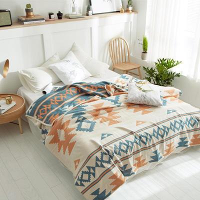 長絨棉純棉四層紗布蓋被蓋毯夏季兒童單人雙人薄被子夏涼被空調被 200cmx230cm 甲骨魚紋
