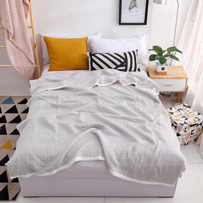 日式新品纯棉纱布夏季单双人透气午睡盖毯空调被夏凉被情侣毛巾被 200cmx230cm 灰色