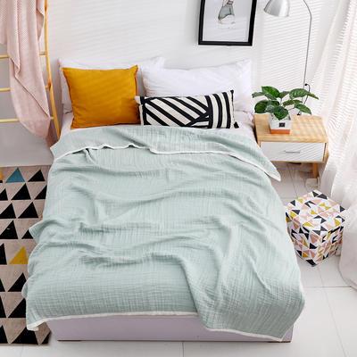 日式新品纯棉纱布夏季单双人透气午睡盖毯空调被夏凉被情侣毛巾被 150cmX200cm 绿色
