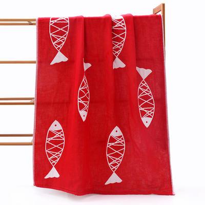 大浴巾纯棉成人日式男女情侣柔软吸水纱布家用速干洗澡裕巾 70*140 小鱼红色