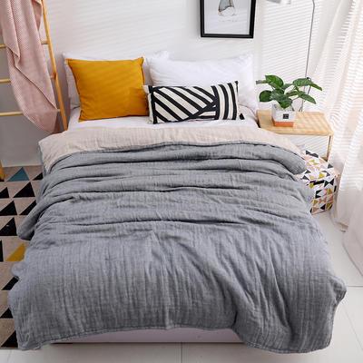 日式素色3层80只纱纱布毛巾被纯棉空调柔软细腻毛巾被春夏床单 200cmx230cm 灰色