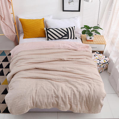 日式素色3层80只纱纱布毛巾被纯棉空调柔软细腻毛巾被春夏床单 150cmX200cm 棕色