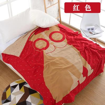 純棉紗布毛巾被單人透氣空調沙發毯夏涼被夏季學生宿舍蓋毯 150cmX200cm 紅色