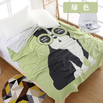 纯棉纱布毛巾被单人透气空调沙发毯夏凉被夏季学生宿舍盖毯 150cmX200cm 绿色