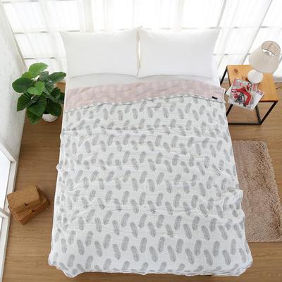 日式純棉四層紗布多功能毛巾被羽毛單人加大雙人被空調被蓋毯床單 200cmx230cm 灰色