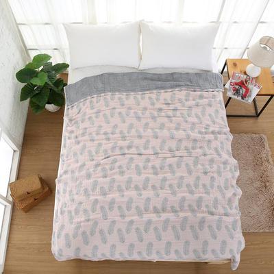 日式纯棉四层纱布多功能毛巾被羽毛单人加大双人被空调被盖毯床单 150cmX200cm 粉色