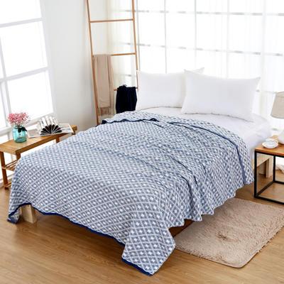 全棉毛巾毯纱布毛巾被纯棉双人空调毯子夏季单人薄款沙发毯厚床单 150cmX200cm 蓝色