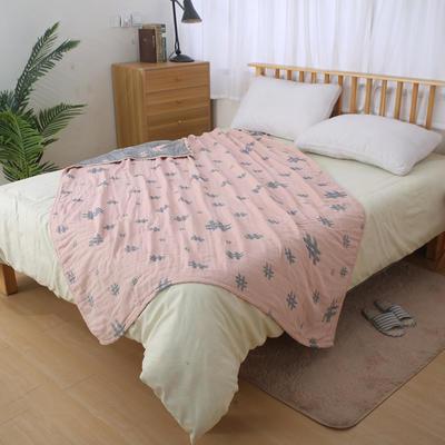 日式四层纯棉毛巾被单人双人夏天纱布毛巾毯纯棉盖毯学生盖被柔软 150cmX200cm 粉色