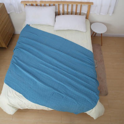 日式四层纯棉毛巾被单人双人夏天纱布毛巾毯纯棉盖毯学生盖被柔软 150cmX200cm 蓝色