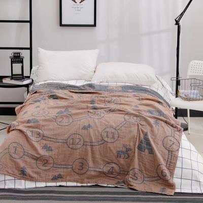 日式四层纯棉毛巾被单人双人夏天纱布毛巾毯纯棉盖毯学生盖被柔软 150cmX200cm 棕色