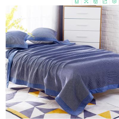 日式四层纯棉毛巾被单人双人夏天纱布毛巾毯纯棉盖毯学生盖被柔软 200cmx230cm 蓝色