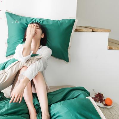 2019新款-its长绒棉拼色四件套 1.8m(6英尺)床 橄榄绿