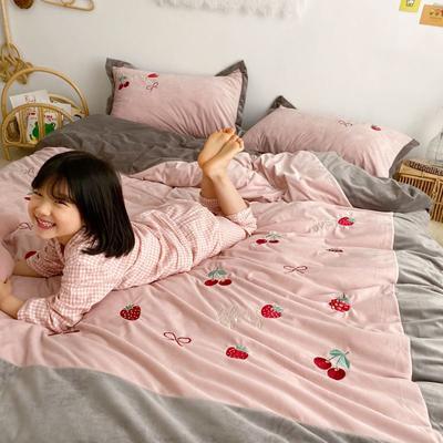 2019新款-秋冬新品宝宝绒四件套-草莓系列 1.8m(6英尺)床 草莓粉