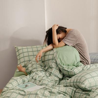 2020春夏新款-高密度40全棉四件套 床单款四件套1.5m(5英尺)床 憧憬-绿